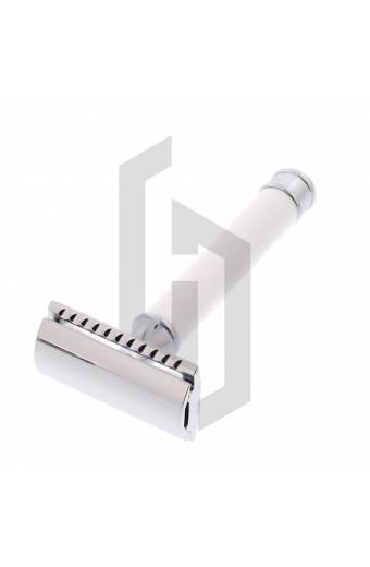 White Shiny Handle DE Safety Razor