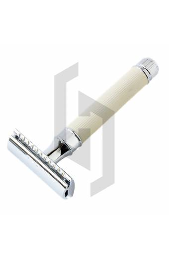 Traditional Safety Razor White Lined with Closed Comb Razor