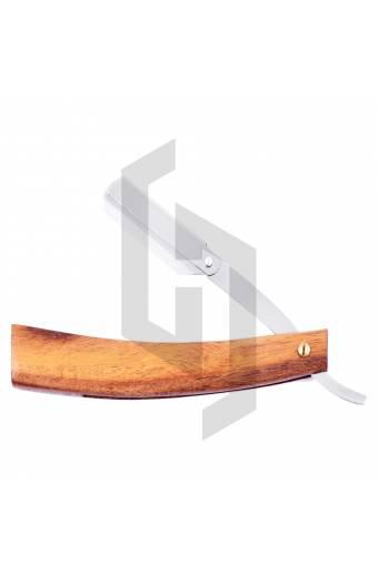 Straight Barber Razor Natural Wood Thick Handle