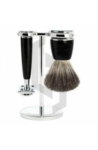 Black And Chrome Plated Shaving Set