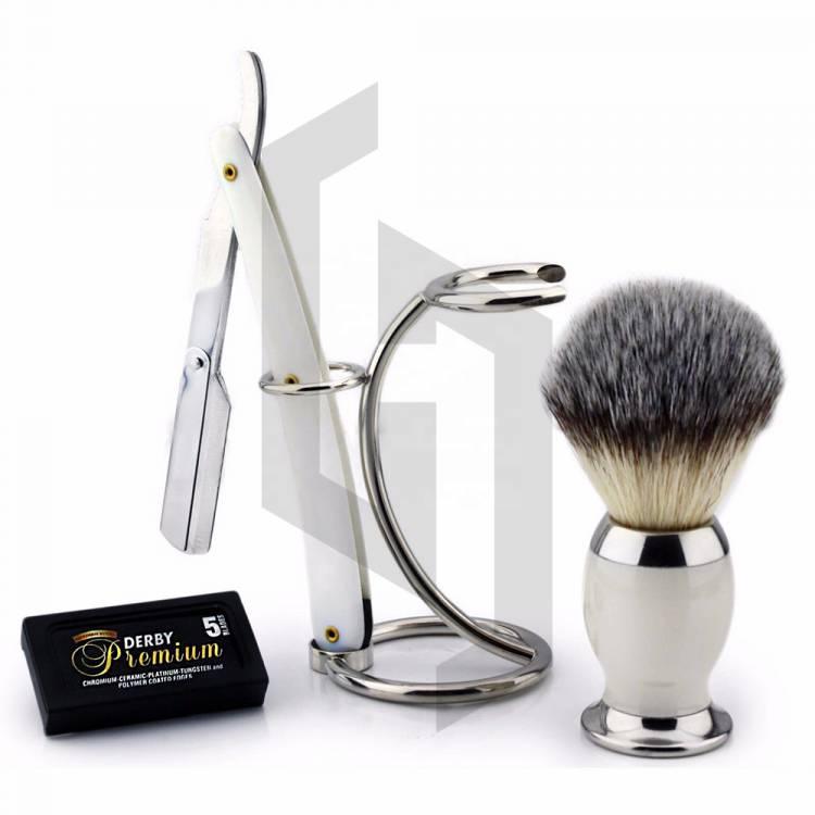 Shave Edge White Straight Razor Shaving Set