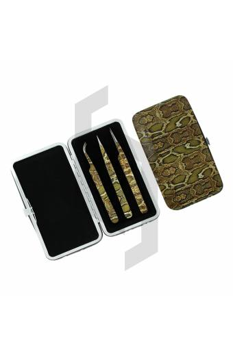 Eyelash Extension Tweezers 3 Pieces Kit with Magnet Cases and Pouches