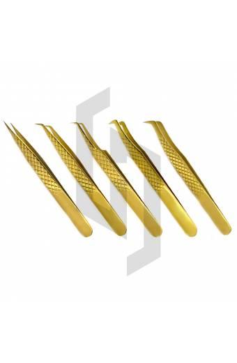Diamond Grip Plasma Gold Eyelash Tweezer kit