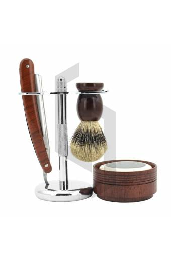 Shaving Straight Razor Wooden Shaving Set